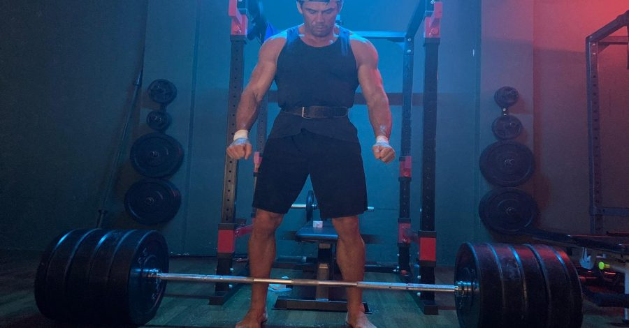 Rich about to deadlift
