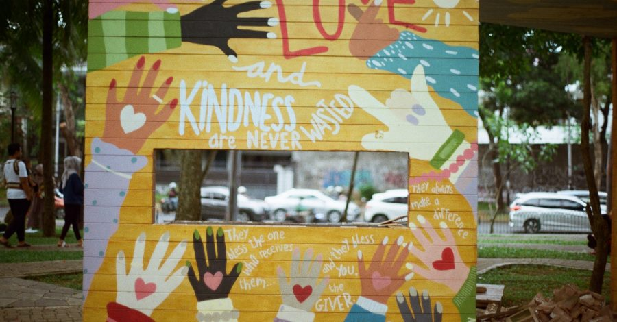 Signboard about love and kindness